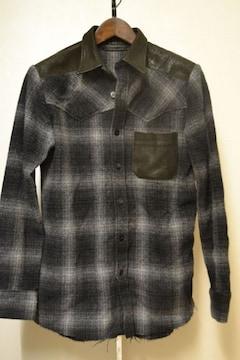 14thaddiction ウールアンゴラレザー切替チェックシャツ 1