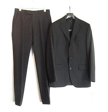 size44 ヒューゴ・ボス黒ラベル 3釦スーツ ストライプ