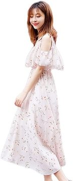 人気急上昇2990円★ベストセラー 夏 花柄ワンピース ピンクL