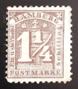 1864年ドイツ ハンブルク切手1-1/4s