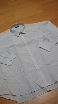 新品EXSTYLE ストライプ長袖Yシャツ 水色黒ライン サイズ7LB 3XL位 南�C
