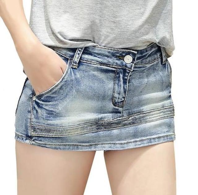 見た目はミニスカート★デニムショートパンツ(Lサイズ)  < 女性ファッションの
