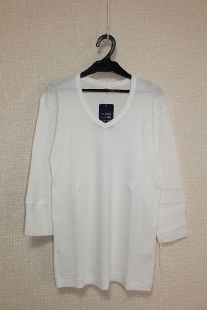 ヘルスニット*Healthknit★ワッフルVネック7分袖Tシャツ(M)/新品  < ブランドの