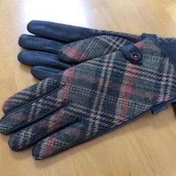 リキエルオム 超暖か暖か裏起毛黒鹿革ツィ−ド手袋チェック