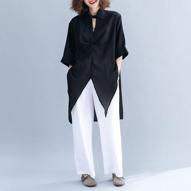 シャツブラウス ドルマン シフォン生地 ブラック 半袖 < 女性ファッションの