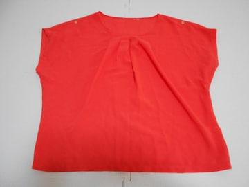 衣類 レディース 約Lサイズ 袖なしカットソー 透け素材 赤