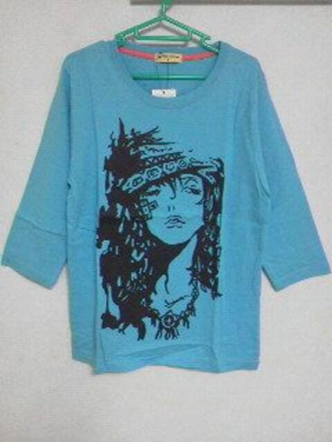 A-615☆新品☆<Sale>7分丈ロゴTシャツ�Aブルー M  < 男性ファッションの