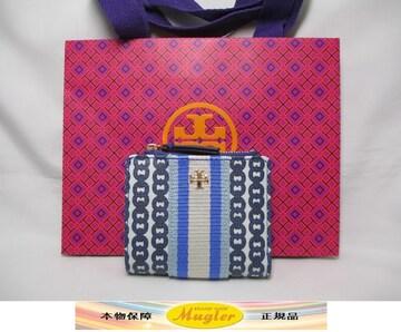 新品 TORY BURCH(トリーバーチ)2つ折り財布 ブルー 青 本物