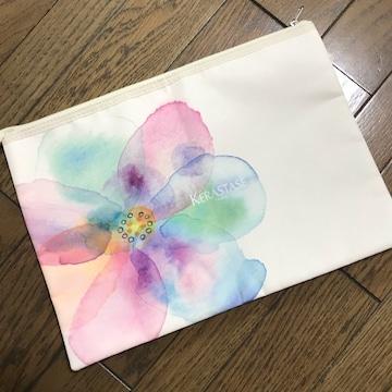 ケラスターゼ 花柄水彩画風 オリジナルクラッチバッグ ポーチ