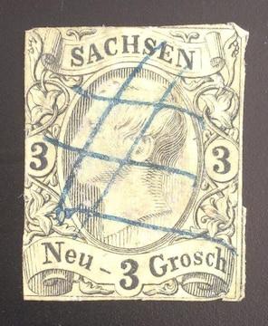 1855-60年ドイツ ザクセン切手3ng 使用済み