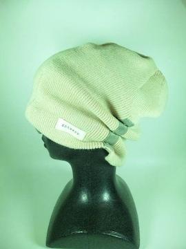 ルーズワッチ★Whiteニットキャップ♪サイドボタン付