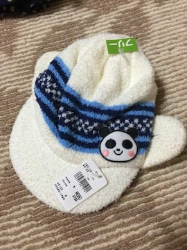 H020/FREEサイズ/パンダ/ホワイト/ニット帽子/