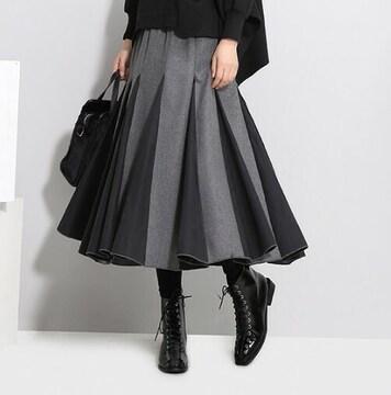 【グレー×ブラック】プリーツスカート フレアスカート