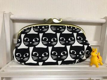 IKEA 黒猫ちゃん ひげがま口口金ポーチ ハンドメイド