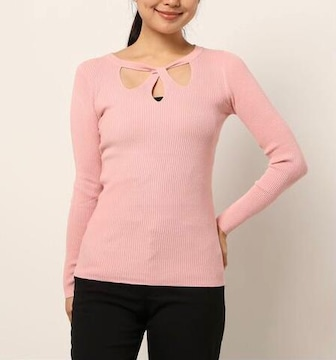 C.R.E.A.M ティアドロップデザインカラーニットトップス ピンク