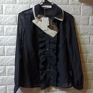 LAZY DAISY★新品タグ付★2枚襟フリルシアーシャツ