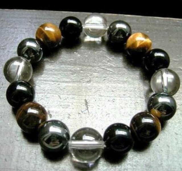 オニキスxタイガーアイxヘマタイトx水晶ブレスレット 天然石  < 男性アクセサリー/時計の