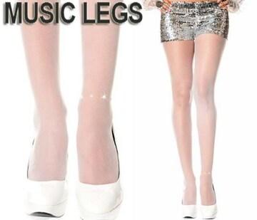 A239)MUSICLEGSラインストーンアンクレットストッキング白ホワイトタイツパーティーダンス衣装B系