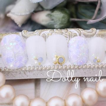 みぢょ!チビ爪ベリショ爽やかシアーホワイト紫陽花フラワーネイル