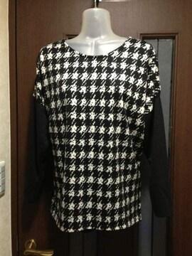 新品L~LL★しまむら★千鳥柄×黒の袖★モノトーン