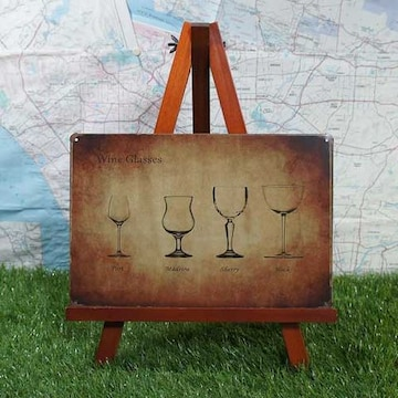 新品【ブリキ看板】Wine/ワイン Wine Glasses
