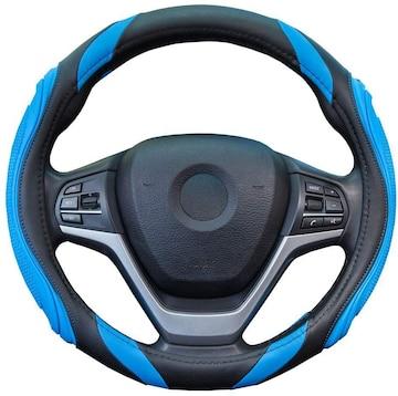 ハンドルカバー 軽自動車 シリコーン レザー ブルー
