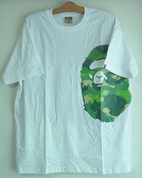 新品☆エイプ☆白XL半袖☆迷彩ロゴ☆カモフラ柄☆BAPE