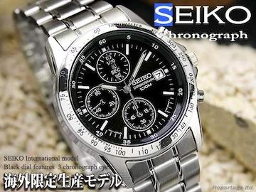 税込!海外限定生産モデル【SEIKO】セイコー1/20秒高速クロノBK