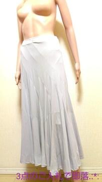 美品☆エルプラド☆グレーの裾広ロングスカートB203☆3点で即落
