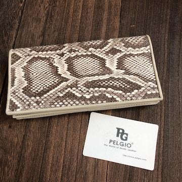 PELGIO 本革 パイソン 蛇 二つ折り長財布 ロング財布