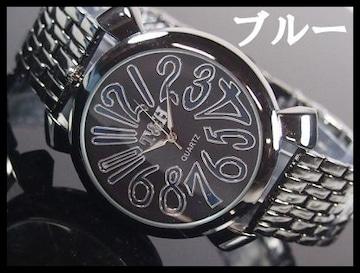 人気★T&Hメンズ腕時計メタルウォッチ★ブルー文字盤