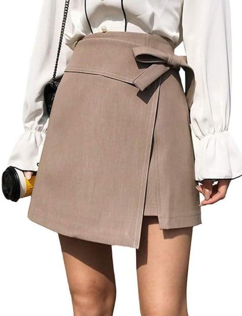 ハイウエスト ラップ巻スカート風 インナー付(L寸・BE) < 女性ファッションの