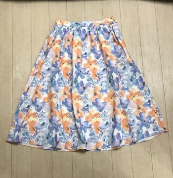 dazzlin*フラワーフレアスカート♪オレンジ☆新品タグ付