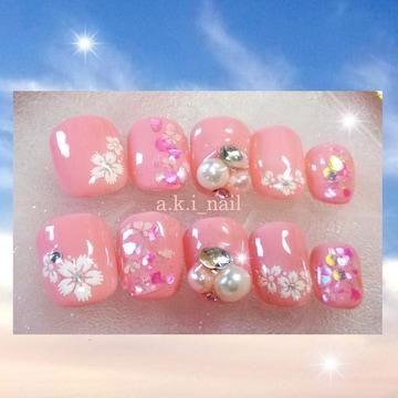 ジェルネイルチップ〜付け爪/桜☆春ネイル〜パール