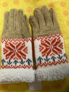 ポール&ジョー 豚皮革手袋+ニット