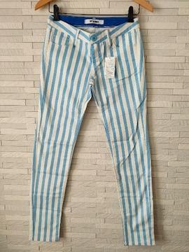 新品 SLY JEANS ストライプ スキニー パンツ ブルー×白 1