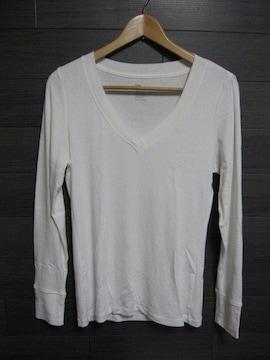 □GAP/ギャップ 深Vネック ロング Tシャツ/ホワイト/タイトシルエット☆新品