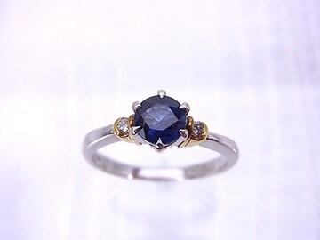 即買 Pt900×K18 0.74ct サファイヤ ダイヤモンドリング 14.5号 r-48★dot