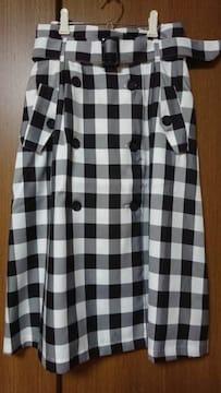 102【ハニーズ】スカート*ブロックチェック*白×黒*L