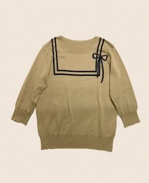 セーラー風ライン&リボン〓七分袖ニットセーター〓ベージュ(L)美品〓