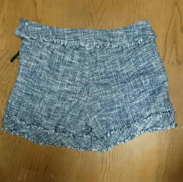 ランバン オンブルー 藍色 白 織り ショートパンツ XS < 女性ファッションの