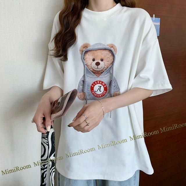 男女兼用!〜4L【大きいサイズ】クマちゃん立体フード紐 Tシャツ/白 < 女性ファッションの