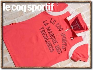 ルコック 刺繍入り半袖ポロシャツ ピンク