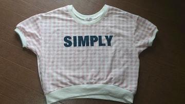 ☆ピンク×ホワイト チェック柄 半袖シャツ☆美品