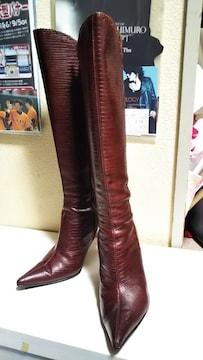 ☆ピンダイウエスタン風ピンヒールロングブーツ☆超美品36