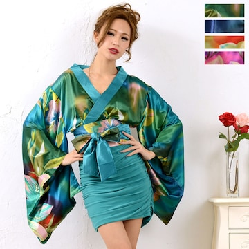 リボン帯付き サテン着物 ミニドレス タイト チャムドレス