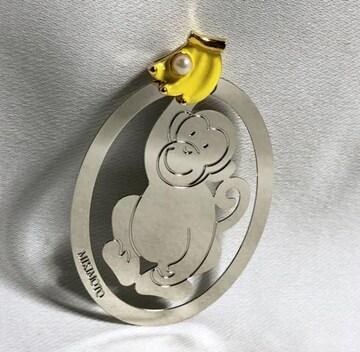 正規美レア ミキモト MIKIMOTO バナナ×パール装飾 サルマネークリップ 銀×黄 財布