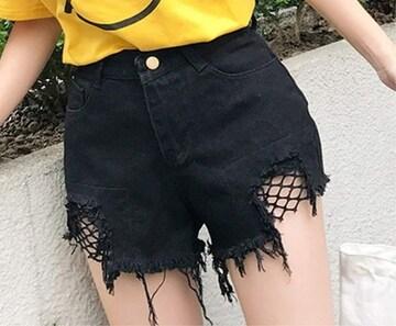 ヴィンテージ風 デニムショートパンツ(XL寸・黒)