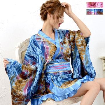 フリル ミニ着物ドレス サテン 和柄 衣装 ダンス チャムドレス