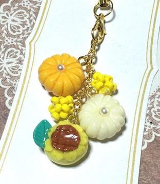 樹脂粘土 ビーズ ハンドメイド ストラップ  向日葵 和菓子